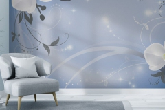 Scandinavian interior of living room concept, light gray sofa with gold lamp on white flooring and blue wall,3d rendering