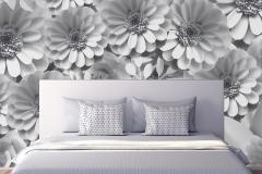 Mock upwall in bedroom interior 3d rendering
