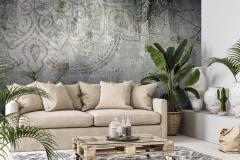 Mock-up frame in interior background,Scandi-boho style, 3d render
